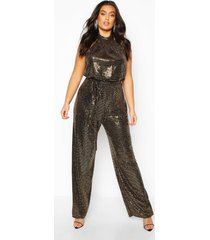 plus metallic sequin wide leg belted jumpsuit, gold