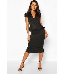 cap sleeve peplum midi dress, black