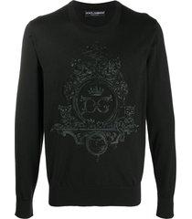 dolce & gabbana embroidered crest logo pullover - black