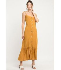 vestido manola alça fina botões viscose feminino - feminino