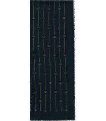 gucci retro gg thin stripe scarf - blue