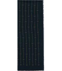 gucci retro gg thin stripe scarf - blue