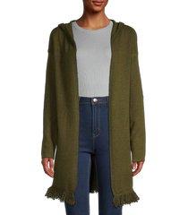 stitchdrop women's fringe-trim hooded cardigan - sedona - size l