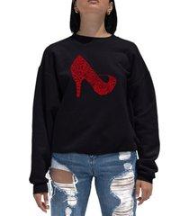 women's word art crewneck high heel sweatshirt
