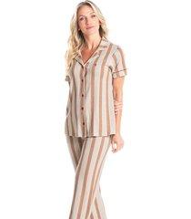 pijama longo abotoado listrado estela