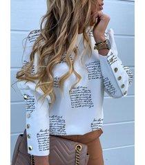 botón blanco diseño blusa de manga de soplo con letras