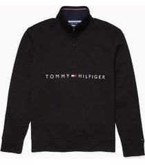 tommy hilfiger men's adaptive logo quarter zip sweatshirt deep black - xl