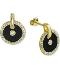 cubic zirconia & black enamel circle stud earrings in 18k gold-plated sterling silver