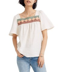 women's madewell patchwork square neck top