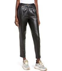 women's blanknyc faux leather pleated trousers, size 31 - black