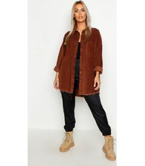 plus oversized corduroy blouse met onbewerkte zoom, geelbruin