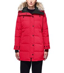 women's canada goose shelburne fusion fit genuine coyote fur trim down parka, size xx-small - red