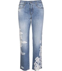 ermanno scervino blue boyfriend jeans with white lace