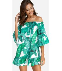 green backless design random tropical print off the shoulder dress