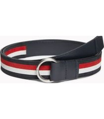 tommy hilfiger men's signature o-ring belt navy/corporate stripe - 42