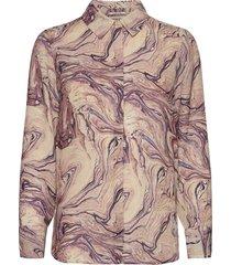 basic button up shirt in prints overhemd met lange mouwen bruin scotch & soda