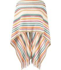 missoni poncho de tricô com franjas - branco
