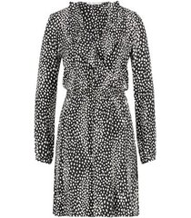 freebird long sleeve cross over leopard cupro mini dress gianna little leopard black