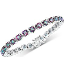 mystic quartz cushion link bracelet (15 ct. t.w.) in sterling silver