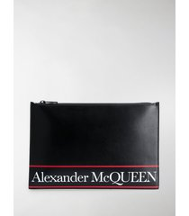 alexander mcqueen logo stripe clutch bag