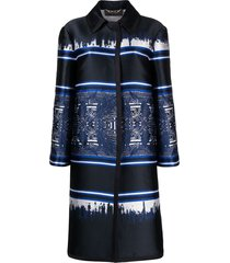 alberta ferretti panelled single-breasted coat - blue