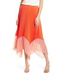 women's french connection ali colorblock pleated skirt, size 12 - red