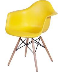 cadeira dkr com braços e base de madeira lena - amarela