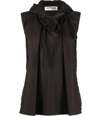 courrèges hooded flared-style top - brown