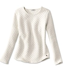 quilted crewneck sweatshirt, oatmeal, x large