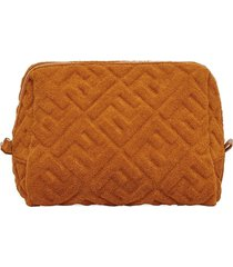 fendi embossed ff motif toiletry case - brown