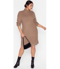 womens knit just got better plus sweater dress - taupe