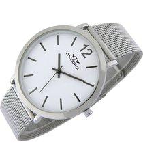 reloj blanco montreal acero tejido