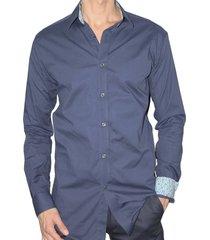 camisa ultra slim fit elástica aranzazu bernard azul oscuro
