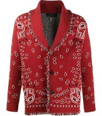 alanui bandana pattern knitted cardigan - red