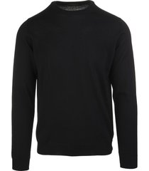 zanone man black shaved wool pullover