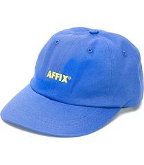 affix embroidered logo baseball cap - blue