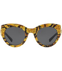 versace eyewear tribute barocco print sunglasses - yellow