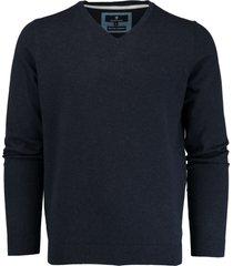 basefield donkerblauwe v-hals pullover 219013879/613 - basefield trui donkerblauw 80% katoen / 17% polyamide / 3% elastaan - basefield trui - - - - -