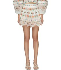 brighton' embroidered ruffle hem shorts