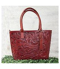 leather shoulder bag, 'floral ancestry in mahogany' (mexico)