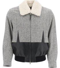 alexander mcqueen tweed bomber jacket with shearling collar