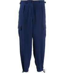 aspesi cropped silk cargo trousers - blue