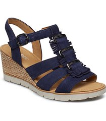 sling sandals sandalette med klack espadrilles blå gabor