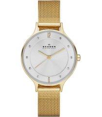 skagen women's anita gold-tone stainless steel mesh bracelet watch 30mm skw2150
