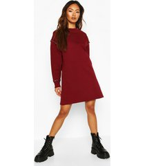 eyelet detail sweatshirt dress, berry