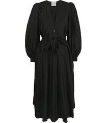 forte forte modal-blend wrap dress - black