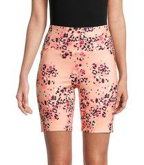 nanette lepore women's floral side pocket bike shorts - peach combo - size s