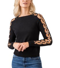 belldini black label gold-tone ring-trim long sleeve crew neck sweater