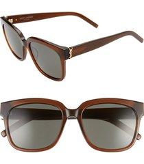 women's saint laurent 54mm square sunglasses - brown/ grey