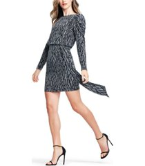 aidan by aidan mattox puff-sleeve metallic knit sheath dress